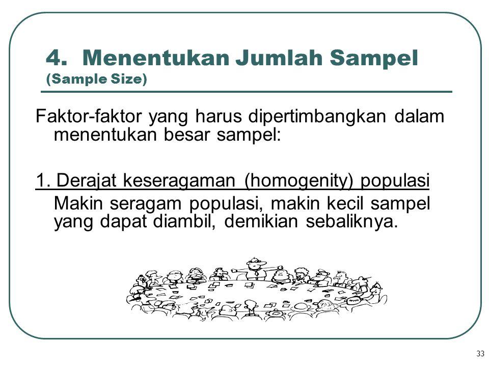 33 4. Menentukan Jumlah Sampel (Sample Size) Faktor-faktor yang harus dipertimbangkan dalam menentukan besar sampel: 1. Derajat keseragaman (homogenit