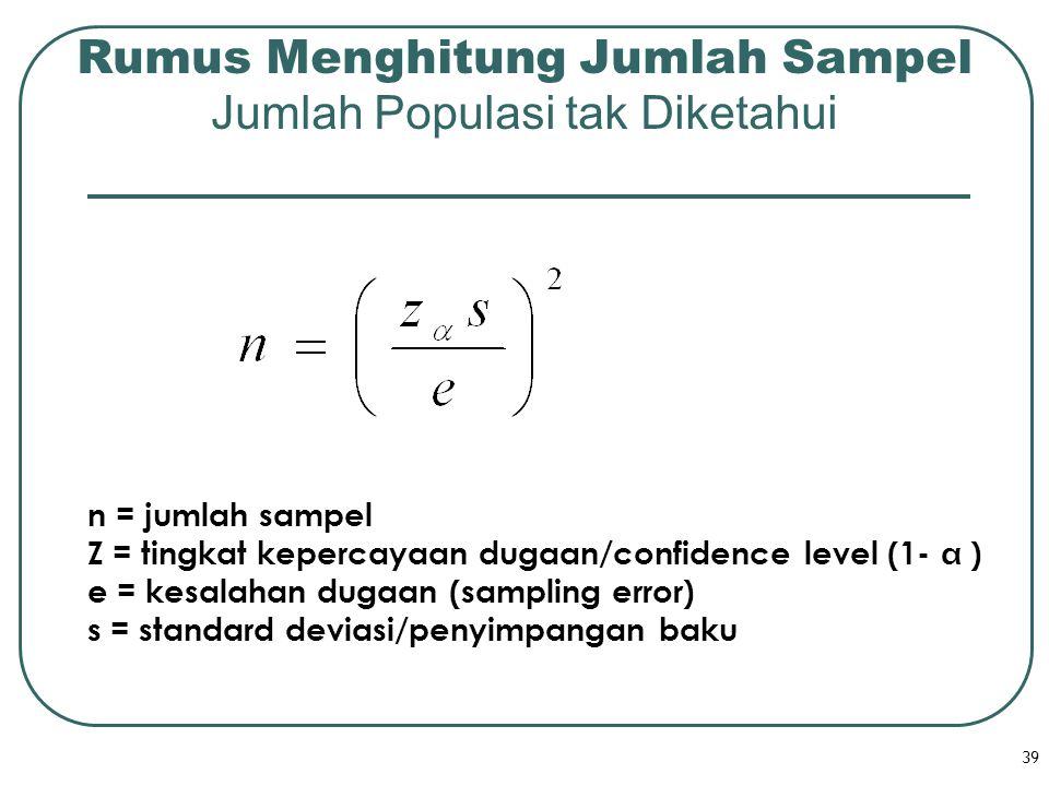 39 Rumus Menghitung Jumlah Sampel Jumlah Populasi tak Diketahui n = jumlah sampel Z = tingkat kepercayaan dugaan/confidence level (1-  ) e = kesalaha