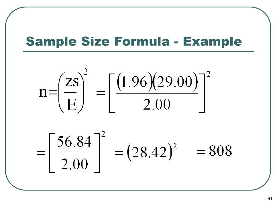 41 Sample Size Formula - Example