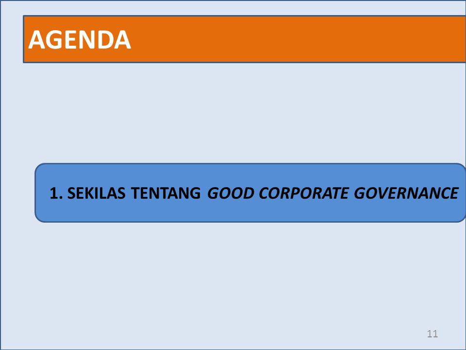 AGENDA 11 1. SEKILAS TENTANG GOOD CORPORATE GOVERNANCE