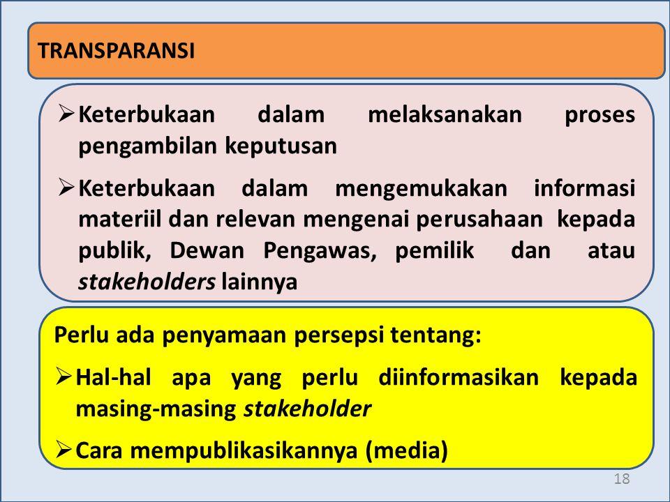 18 TRANSPARANSI  Keterbukaan dalam melaksanakan proses pengambilan keputusan  Keterbukaan dalam mengemukakan informasi materiil dan relevan mengenai