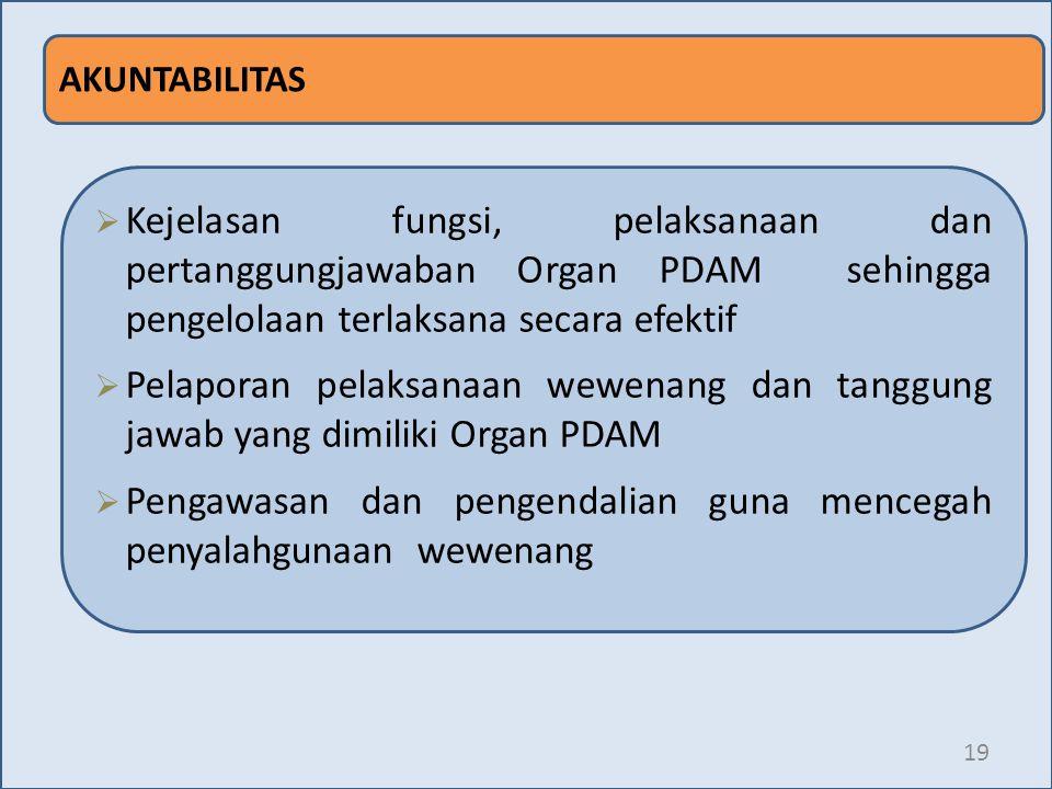 19 AKUNTABILITAS  Kejelasan fungsi, pelaksanaan dan pertanggungjawaban Organ PDAM sehingga pengelolaan terlaksana secara efektif  Pelaporan pelaksan