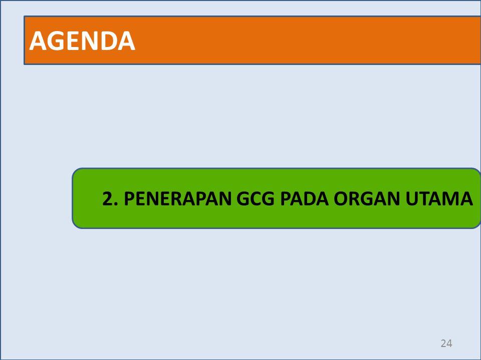 AGENDA 24 2. PENERAPAN GCG PADA ORGAN UTAMA
