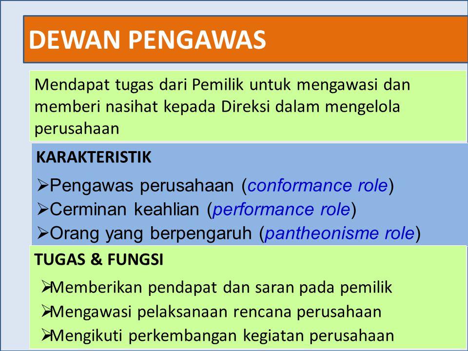 DEWAN PENGAWAS 26 Mendapat tugas dari Pemilik untuk mengawasi dan memberi nasihat kepada Direksi dalam mengelola perusahaan KARAKTERISTIK  Pengawas p