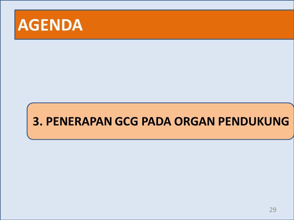 AGENDA 29 3. PENERAPAN GCG PADA ORGAN PENDUKUNG
