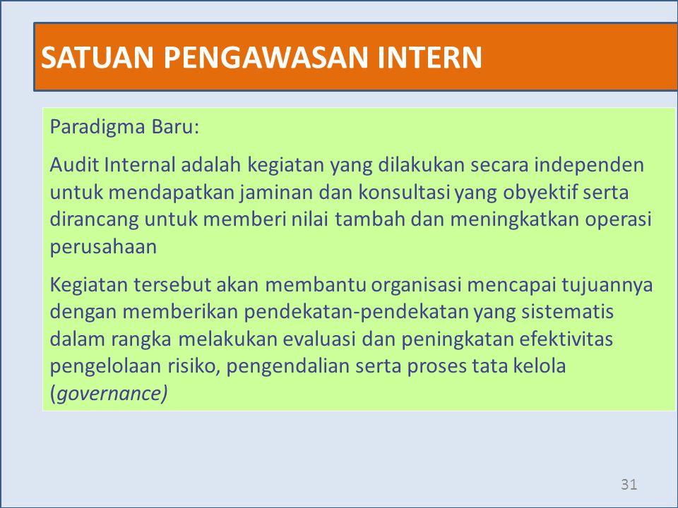 SATUAN PENGAWASAN INTERN 31 Paradigma Baru: Audit Internal adalah kegiatan yang dilakukan secara independen untuk mendapatkan jaminan dan konsultasi y