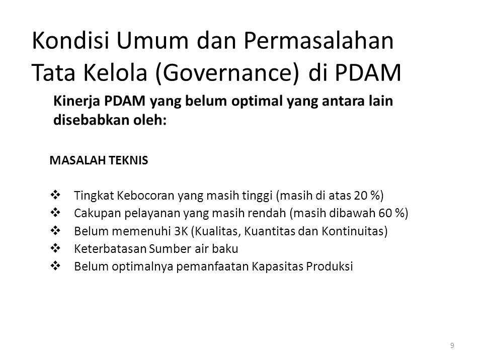 9 Kondisi Umum dan Permasalahan Tata Kelola (Governance) di PDAM MASALAH TEKNIS  Tingkat Kebocoran yang masih tinggi (masih di atas 20 %)  Cakupan p
