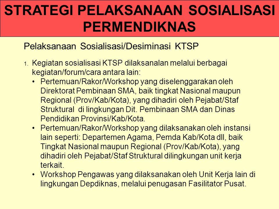 Pelaksanaan Sosialisasi/Desiminasi KTSP 1.