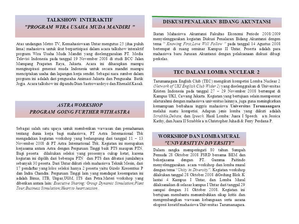 Atas undangan Metro TV, Kemahasiswaan Untar mengutus 25 (dua puluh lima) mahasiswa untuk ikut berpartisipasi dalam acara talkshow interaktif program Wira Usaha Muda Mandiri yang diselenggarakan PT.