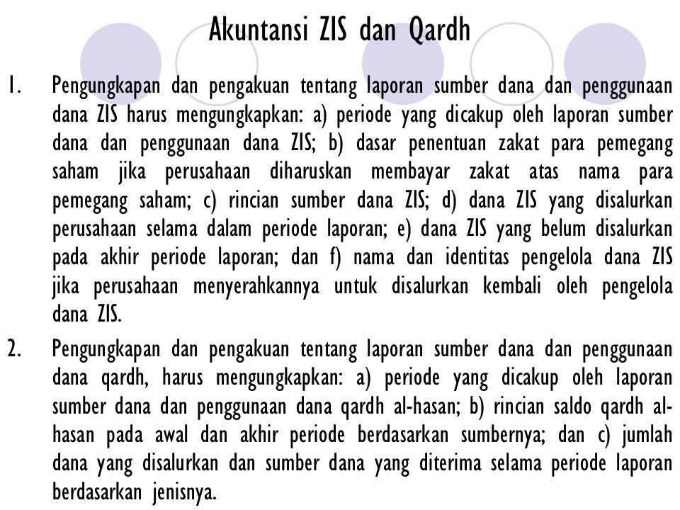 Akuntansi ZIS dan Qardh 1. Pengungkapan dan pengakuan tentang laporan sumber dana dan penggunaan dana ZIS harus mengungkapkan: a) periode yang dicakup