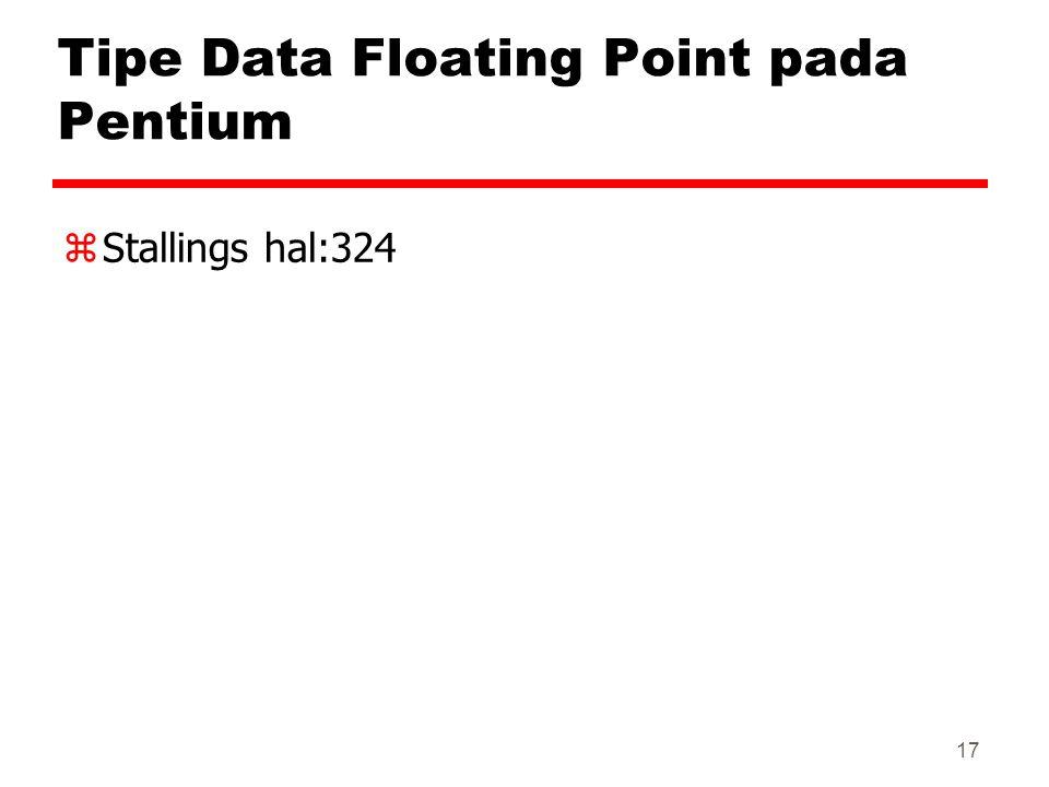 17 Tipe Data Floating Point pada Pentium zStallings hal:324