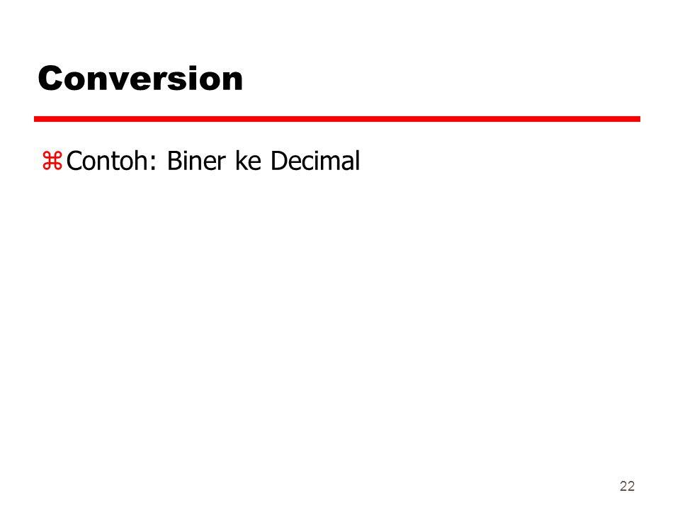 22 Conversion zContoh: Biner ke Decimal