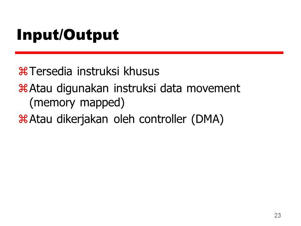 23 Input/Output zTersedia instruksi khusus zAtau digunakan instruksi data movement (memory mapped) zAtau dikerjakan oleh controller (DMA)
