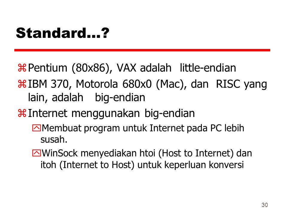 30 Standard…? zPentium (80x86), VAX adalah little-endian zIBM 370, Motorola 680x0 (Mac), dan RISC yang lain, adalah big-endian zInternet menggunakan b