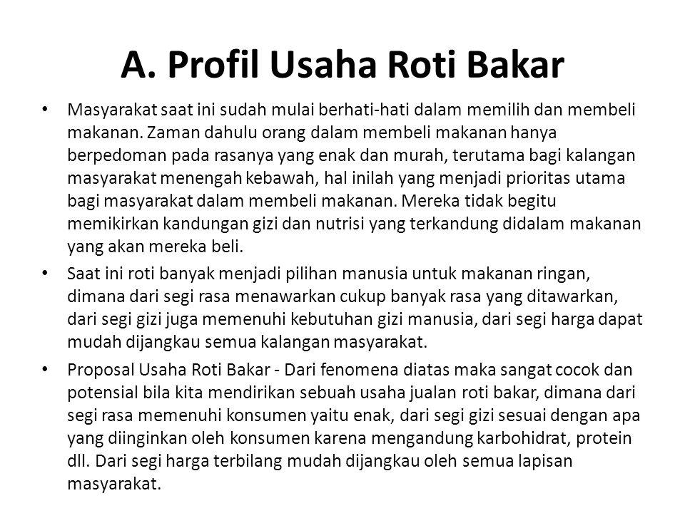 A. Profil Usaha Roti Bakar Masyarakat saat ini sudah mulai berhati-hati dalam memilih dan membeli makanan. Zaman dahulu orang dalam membeli makanan ha
