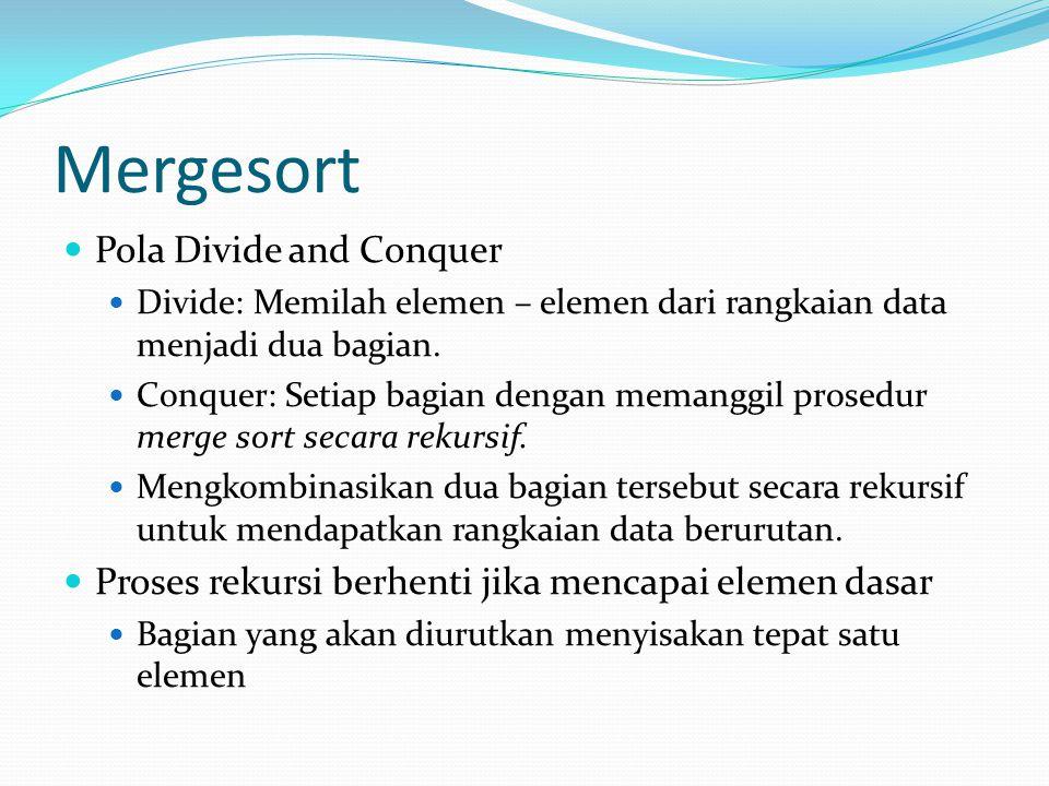 Mergesort Pola Divide and Conquer Divide: Memilah elemen – elemen dari rangkaian data menjadi dua bagian.