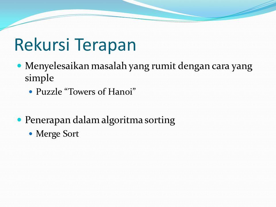 Rekursi Terapan Menyelesaikan masalah yang rumit dengan cara yang simple Puzzle Towers of Hanoi Penerapan dalam algoritma sorting Merge Sort
