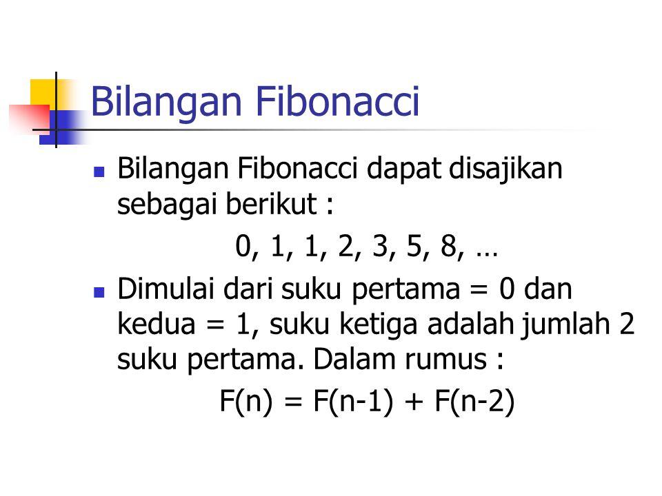 Bilangan Fibonacci Bilangan Fibonacci dapat disajikan sebagai berikut : 0, 1, 1, 2, 3, 5, 8, … Dimulai dari suku pertama = 0 dan kedua = 1, suku ketig