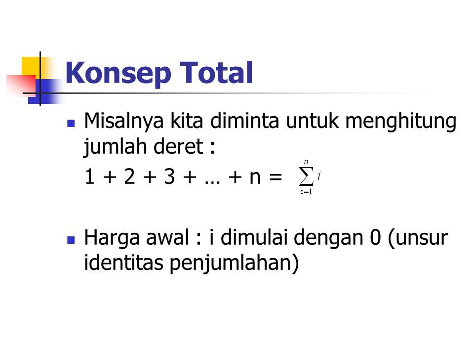 Konsep Total (lanjutan) Algoritmik : jumlah  0 for i  1 to n do jumlah  jumlah + i C++ : jumlah = 0; for (i = 1; i<=n; i++) jumlah += i;