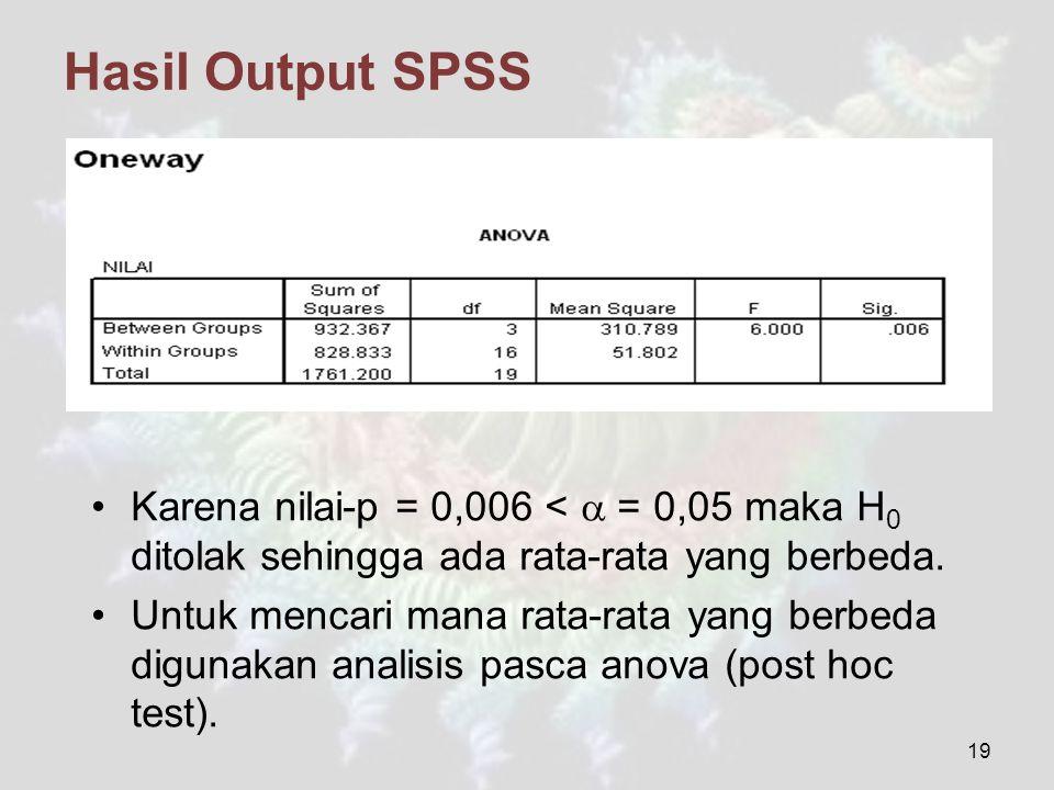 Hasil Output SPSS Karena nilai-p = 0,006 <  = 0,05 maka H 0 ditolak sehingga ada rata-rata yang berbeda. Untuk mencari mana rata-rata yang berbeda di