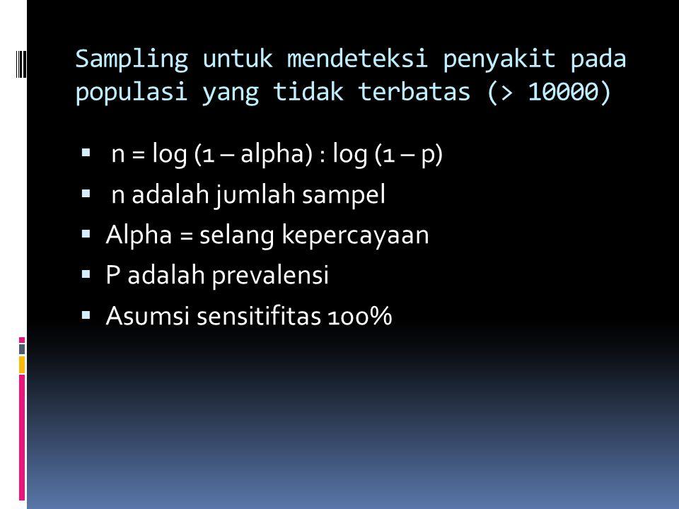 Sampling untuk mendeteksi penyakit pada populasi yang tidak terbatas (> 10000)  n = log (1 – alpha) : log (1 – p)  n adalah jumlah sampel  Alpha = selang kepercayaan  P adalah prevalensi  Asumsi sensitifitas 100%