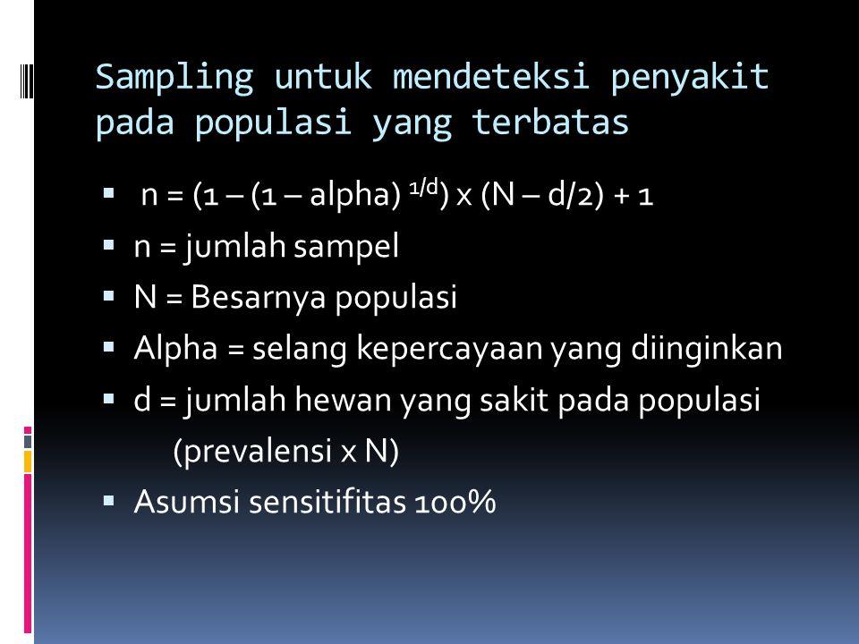 Sampling untuk mendeteksi penyakit pada populasi yang terbatas  n = (1 – (1 – alpha) 1/d ) x (N – d/2) + 1  n = jumlah sampel  N = Besarnya populasi  Alpha = selang kepercayaan yang diinginkan  d = jumlah hewan yang sakit pada populasi (prevalensi x N)  Asumsi sensitifitas 100%