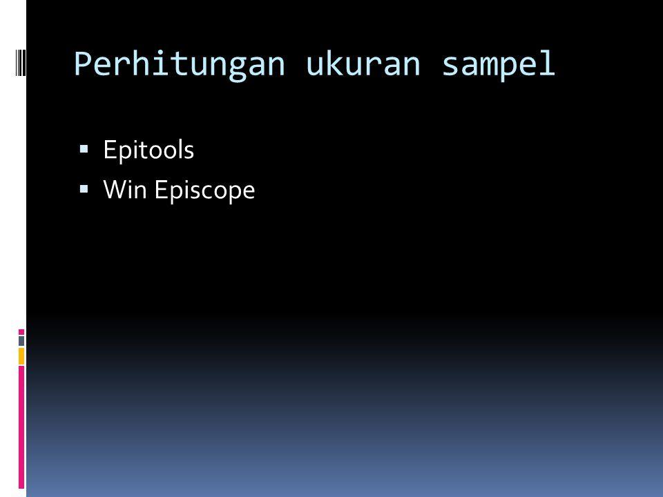 Perhitungan ukuran sampel  Epitools  Win Episcope