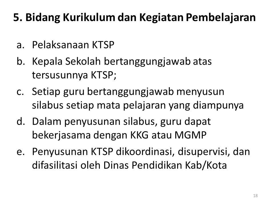 5. Bidang Kurikulum dan Kegiatan Pembelajaran a.Pelaksanaan KTSP b.Kepala Sekolah bertanggungjawab atas tersusunnya KTSP; c.Setiap guru bertanggungjaw