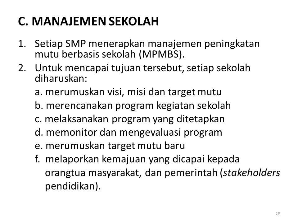 C.MANAJEMEN SEKOLAH 1.Setiap SMP menerapkan manajemen peningkatan mutu berbasis sekolah (MPMBS).