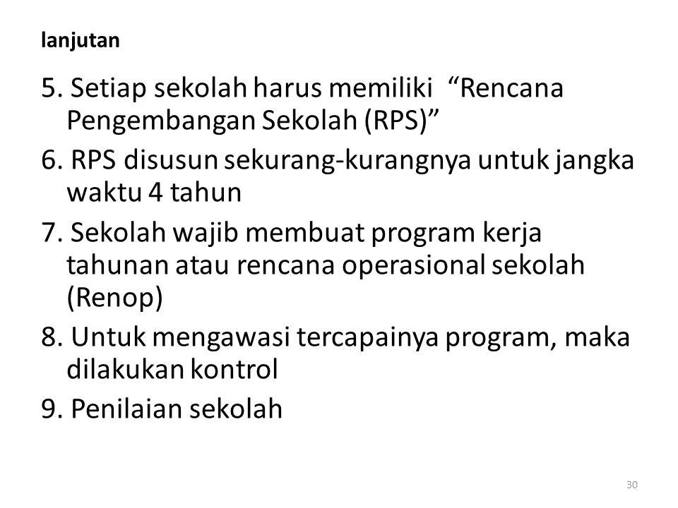 lanjutan 5.Setiap sekolah harus memiliki Rencana Pengembangan Sekolah (RPS) 6.