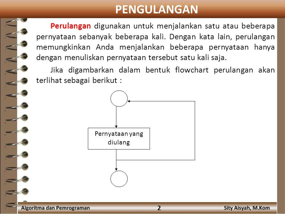 PENGULANGAN 2 Perulangan digunakan untuk menjalankan satu atau beberapa pernyataan sebanyak beberapa kali.