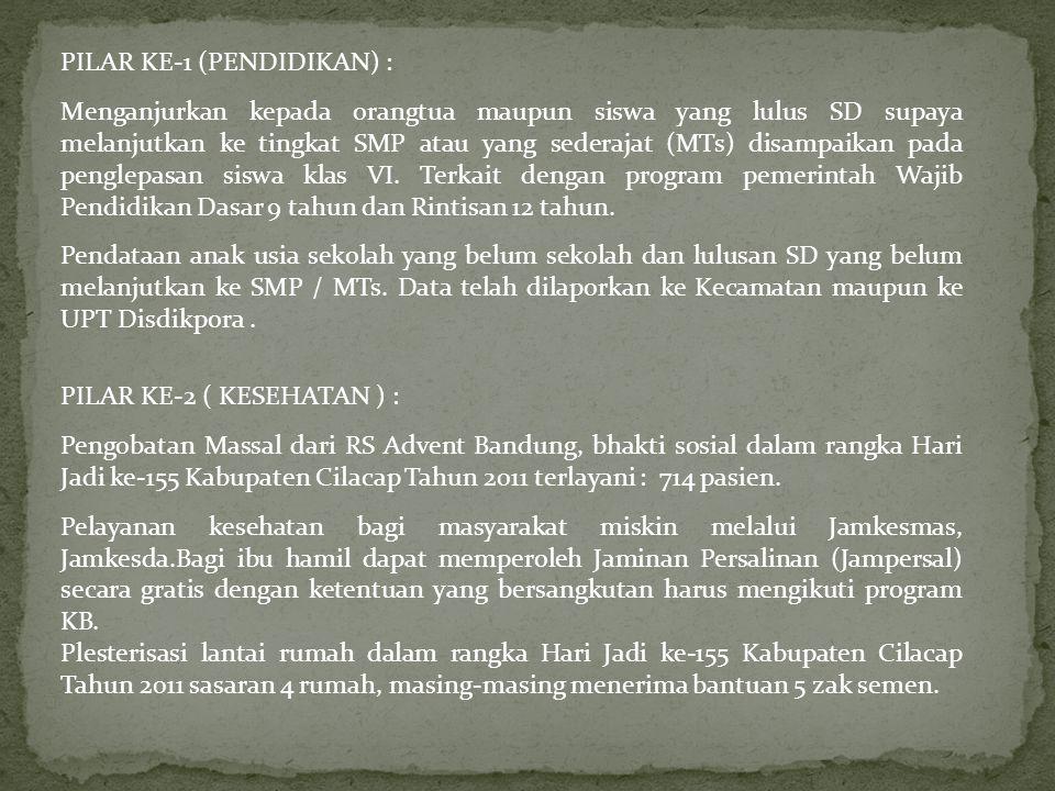 PILAR KE-1 (PENDIDIKAN) : Menganjurkan kepada orangtua maupun siswa yang lulus SD supaya melanjutkan ke tingkat SMP atau yang sederajat (MTs) disampai