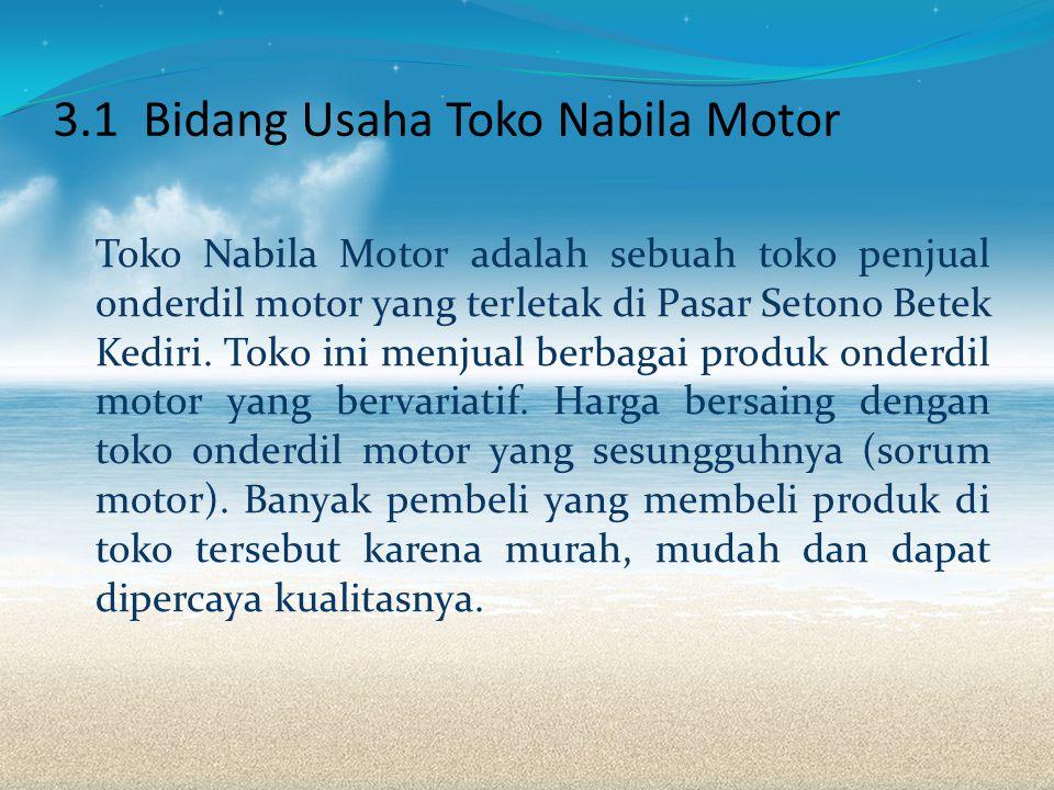 3.1 Bidang Usaha Toko Nabila Motor Toko Nabila Motor adalah sebuah toko penjual onderdil motor yang terletak di Pasar Setono Betek Kediri.