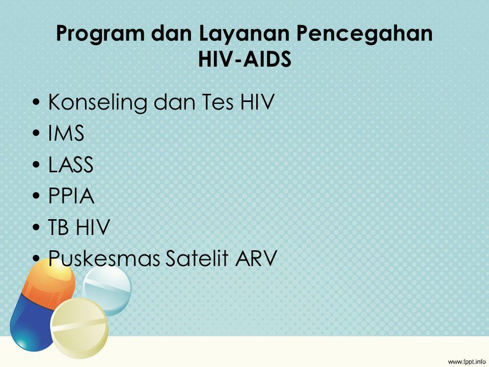 Program dan Layanan Pencegahan HIV-AIDS Konseling dan Tes HIV IMS LASS PPIA TB HIV Puskesmas Satelit ARV