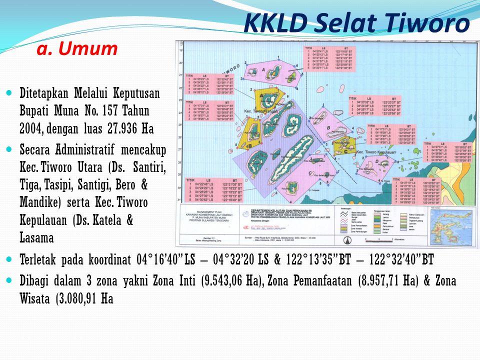 KKLD Selat Tiworo Ditetapkan Melalui Keputusan Bupati Muna No. 157 Tahun 2004, dengan luas 27.936 Ha Secara Administratif mencakup Kec. Tiworo Utara (