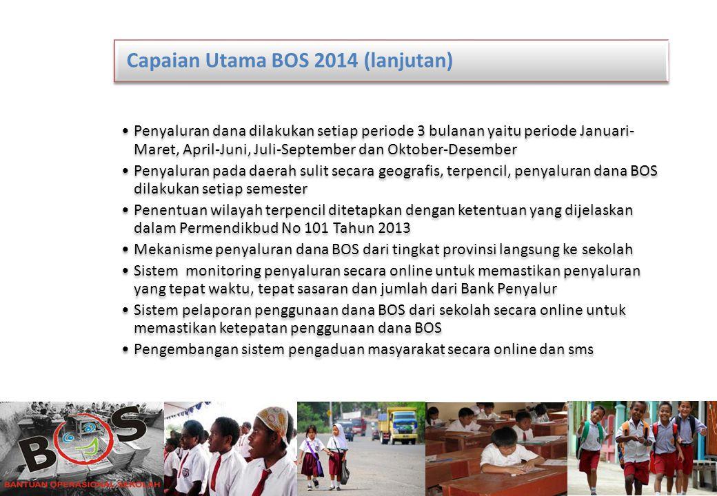 11 Capaian Utama BOS 2014 (lanjutan) Penyaluran dana dilakukan setiap periode 3 bulanan yaitu periode Januari- Maret, April-Juni, Juli-September dan O