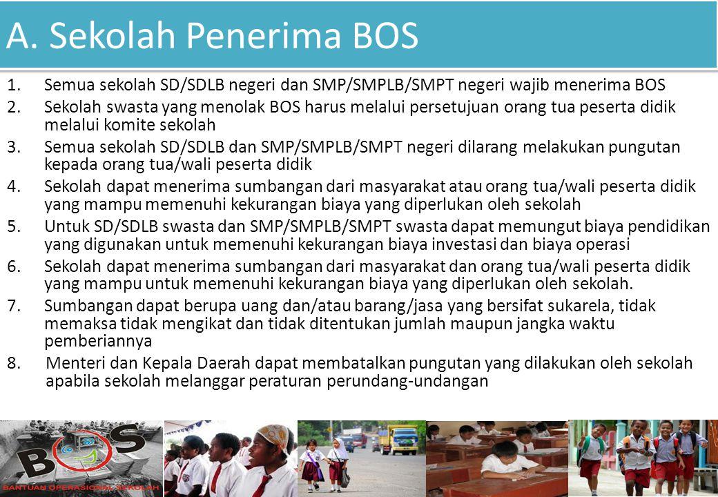 A. Sekolah Penerima BOS 1.Semua sekolah SD/SDLB negeri dan SMP/SMPLB/SMPT negeri wajib menerima BOS 2.Sekolah swasta yang menolak BOS harus melalui pe