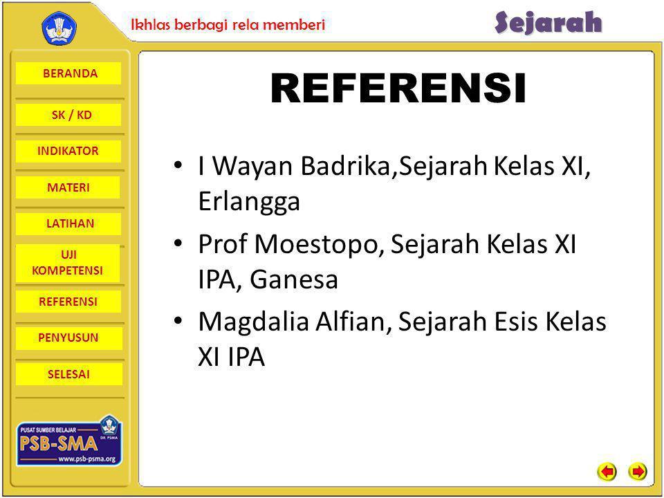 BERANDA SK / KD INDIKATORSejarah Ikhlas berbagi rela memberi MATERI LATIHAN UJI KOMPETENSI REFERENSI PENYUSUN SELESAI REFERENSI I Wayan Badrika,Sejara