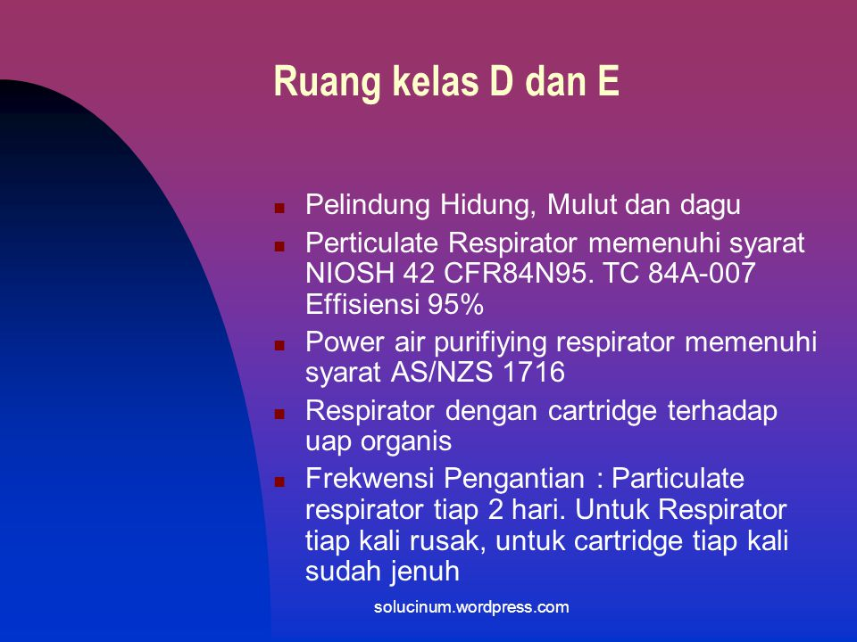 Ruang kelas D dan E > Pelindung kuping Ear plug bahan busa pliurethane yang hypo alergenic Ear muff Frekuensi penggantian : tiap kali kotor solucinum.