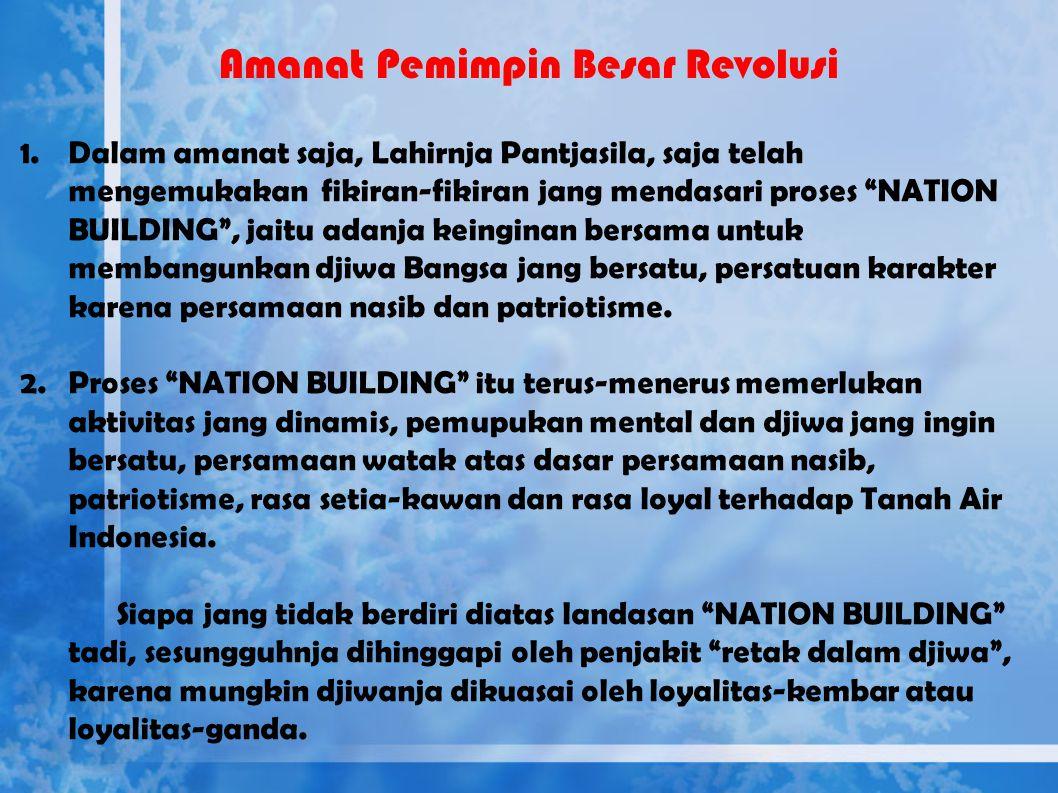 "Amanat Presiden tentang ""Nation and Character Building"" Tahun 1963"