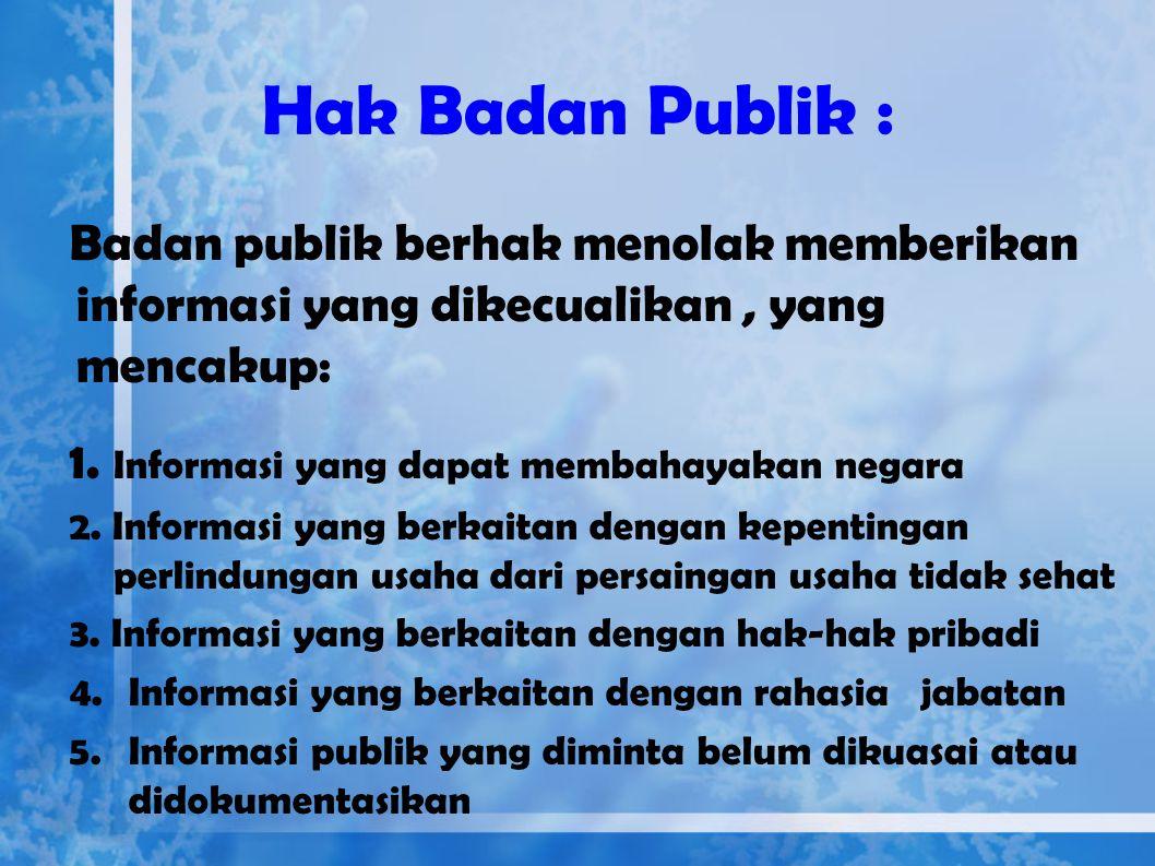 Lanjutan…… 6.Badan Publik dapat memanfaatkan sarana dan/atau media elektronik dan noneletronik (pasal 7 UU KIP) 7.Kewajiban Badan Publik yang berkaita