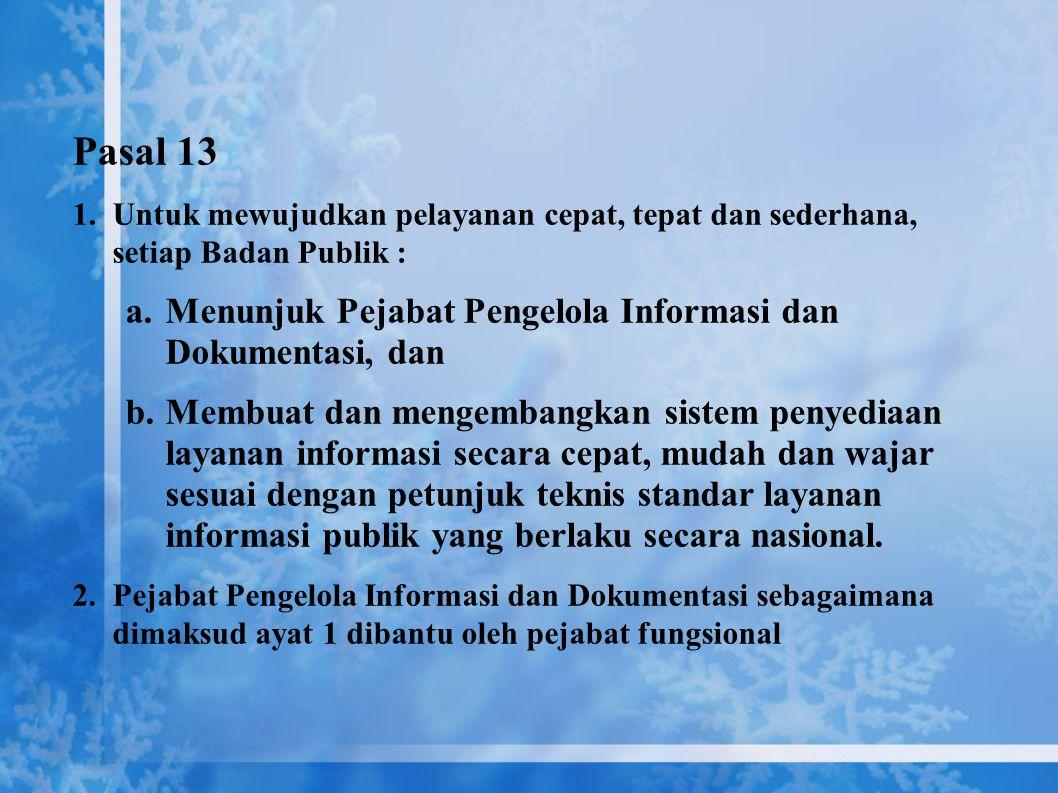 Hak Badan Publik : Badan publik berhak menolak memberikan informasi yang dikecualikan, yang mencakup: 1. Informasi yang dapat membahayakan negara 2. I