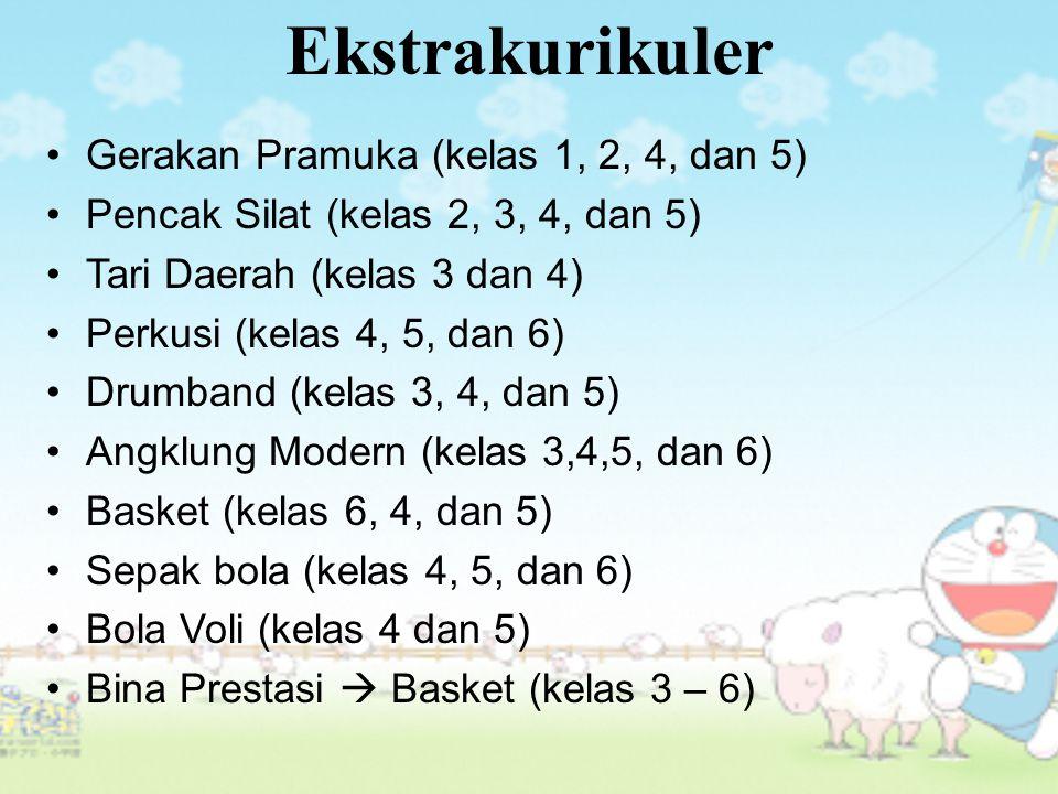 Gerakan Pramuka (kelas 1, 2, 4, dan 5) Pencak Silat (kelas 2, 3, 4, dan 5) Tari Daerah (kelas 3 dan 4) Perkusi (kelas 4, 5, dan 6) Drumband (kelas 3, 4, dan 5) Angklung Modern (kelas 3,4,5, dan 6) Basket (kelas 6, 4, dan 5) Sepak bola (kelas 4, 5, dan 6) Bola Voli (kelas 4 dan 5) Bina Prestasi  Basket (kelas 3 – 6) Ekstrakurikuler
