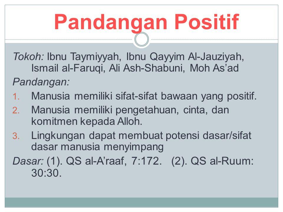 Pandangan Positif Tokoh: Ibnu Taymiyyah, Ibnu Qayyim Al-Jauziyah, Ismail al-Faruqi, Ali Ash-Shabuni, Moh As'ad Pandangan: 1. Manusia memiliki sifat-si