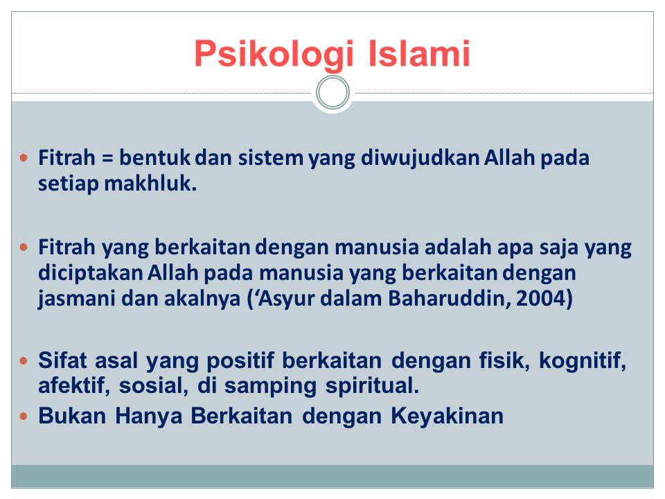 Psikologi Islami Fitrah = bentuk dan sistem yang diwujudkan Allah pada setiap makhluk. Fitrah yang berkaitan dengan manusia adalah apa saja yang dicip