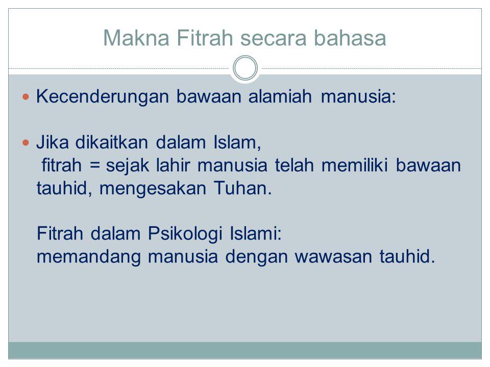 Makna Fitrah secara bahasa Kecenderungan bawaan alamiah manusia: Jika dikaitkan dalam Islam, fitrah = sejak lahir manusia telah memiliki bawaan tauhid