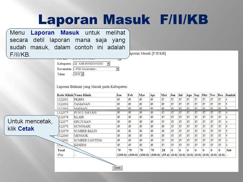 Laporan Masuk F/II/KB Menu Laporan Masuk untuk melihat secara detil laporan mana saja yang sudah masuk, dalam contoh ini adalah F/II/KB. Untuk menceta