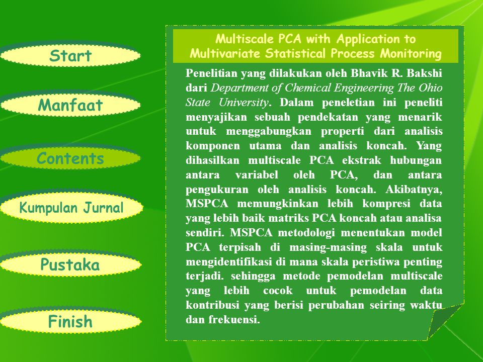 Start Manfaat Contents Kumpulan Jurnal Pustaka Finish Multiscale PCA with Application to Multivariate Statistical Process Monitoring Penelitian yang d