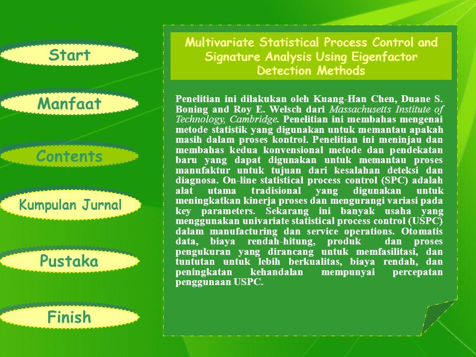 Start Manfaat Contents Kumpulan Jurnal Pustaka Finish Multivariate Statistical Process Control and Signature Analysis Using Eigenfactor Detection Methods Penelitian ini dilakukan oleh Kuang-Han Chen, Duane S.