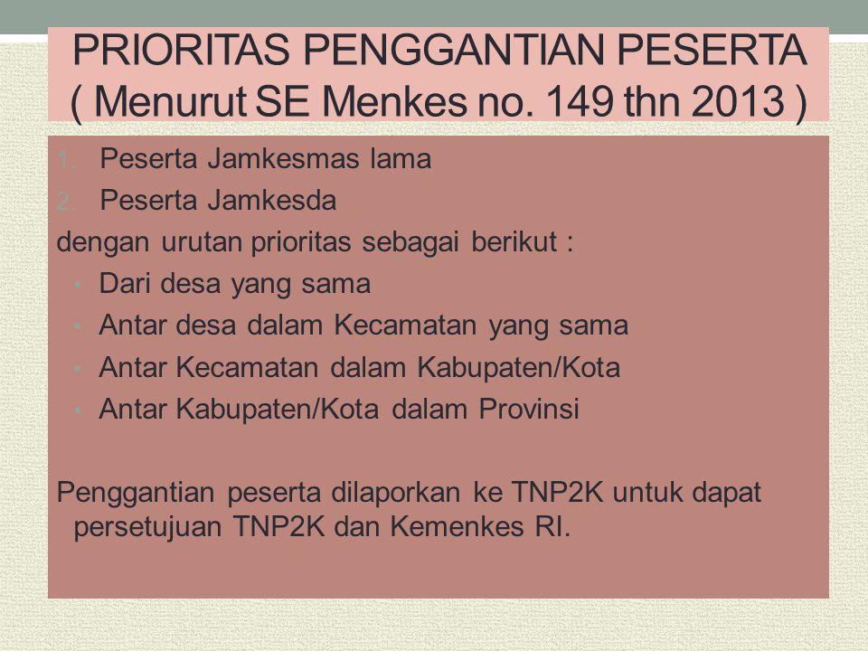 PRIORITAS PENGGANTIAN PESERTA ( Menurut SE Menkes no. 149 thn 2013 ) 1. Peserta Jamkesmas lama 2. Peserta Jamkesda dengan urutan prioritas sebagai ber